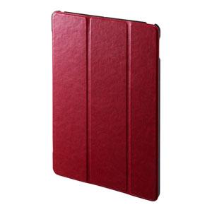 iPad 10.2インチ用ケース(第7世代・ソフトレザー・高級PU・スタンドタイプ・レッド)