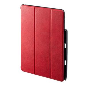 iPad 10.2インチ用ケース(第7世代・ソフトレザー・高級PU・Apple Pencil収納・スタンドタイプ・レッド)