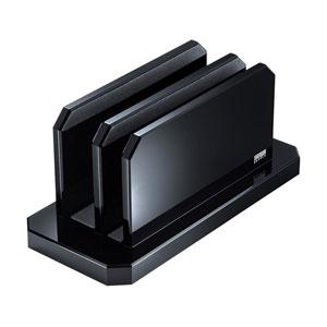 ノートパソコン用アクリルスタンド(2台収納・縦置きタイプ)