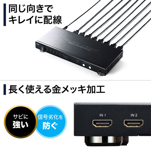 HDMIセレクター(4K/60Hz対応・6入力2出力・マトリックス切替機能・リモコン付き)