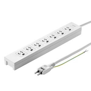 電源タップ(3P・7個口・3m・マグネット付・絶縁キャップ付2Pスイングプラグ)