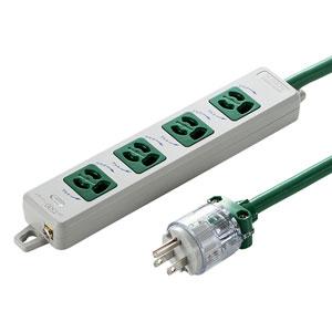 医用接地プラグ付き電源タップ(3P・4個口・グリーン・1m)