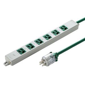 医用接地プラグ付き電源タップ(3P・6個口・グリーン・3m)