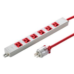 医用接地プラグ付き電源タップ(3P・6個口・レッド・3m)