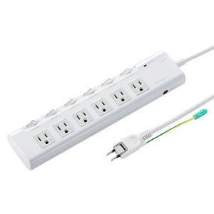 節電タップ(3P・6個口・2m)
