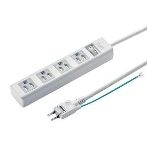 電源タップ(3P・4個口・5m・ホコリシャッター・通電ランプ・2Pスイングプラグ・スイッチ付き)