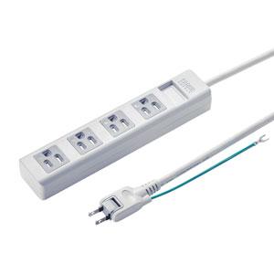 電源タップ(3P・4個口・2.5m・ホコリシャッター・通電ランプ・2Pスイングプラグ)