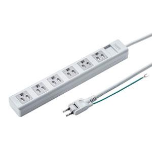 電源タップ(3P・6個口・2.5m・ホコリシャッター・通電ランプ・2Pスイングプラグ)