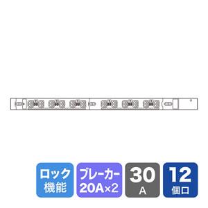 19インチサーバーラック用コンセント(30A・抜け防止ロック付き・12個口・3m)