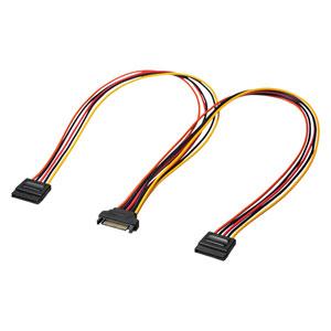 SATA電源ケーブル(電源分岐ケーブル・シリアルATA・2分岐・0.5m)