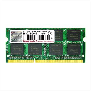 Transcend ノートPC用増設メモリ 4GB DDR3-1066 PC3-8500 SO-DIMM TS512MSK64V1N