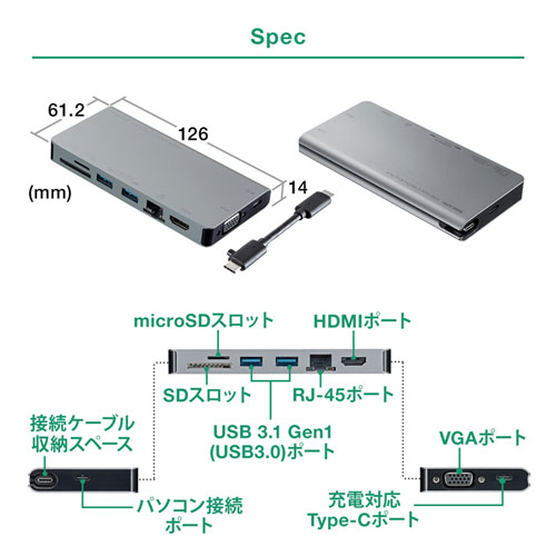 USB Type-C ドッキングステーション モバイルタイプ PD/45W対応 4K対応 8in1 HDMI VGA Type-C USB3.0×2 LAN SD/microSD テレワーク 在宅勤務