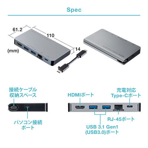USB Type-C ドッキングステーション モバイルタイプ PD/45W対応 4K対応 8in1 HDMI Type-C USB3.0×2 LAN テレワーク 在宅勤務
